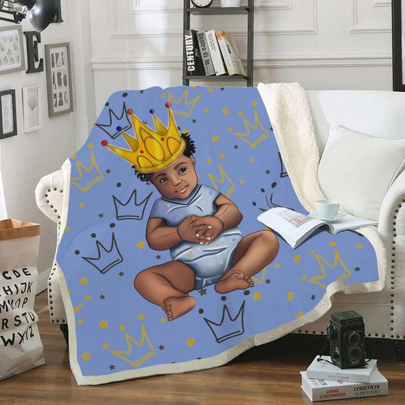 Black Kid Art Fleece Blanket - African Gold Generation Born To Be A King Fleece Blanket