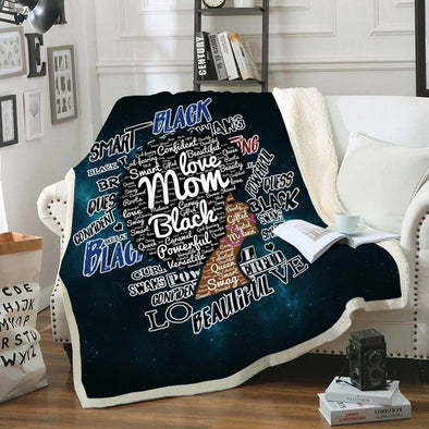 Afro Mom Words Art Fleece Blanket - Love Black Afro Mom Natural Fleece Blanket