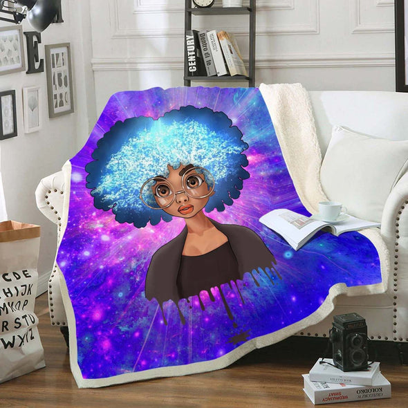 Melanin Poppin Girl Art Fleece Blanket - Afro Natural Brown Eyes Cute Girl Fleece Blanket