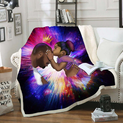 Black Daddy Products Fleece Blanket - Endless Love Father And Daughter Fleece Blanket
