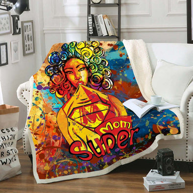 African Women Art Fleece Blanket - Colorful Curls Kinky Chicks Super Mom Fleece Blanket
