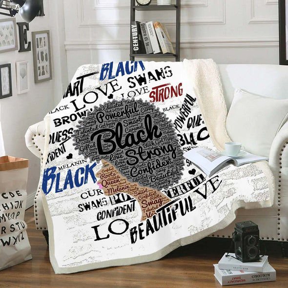 Naptural Hair Art Fleece Blanket - Afro Black Strong Fleece Blanket