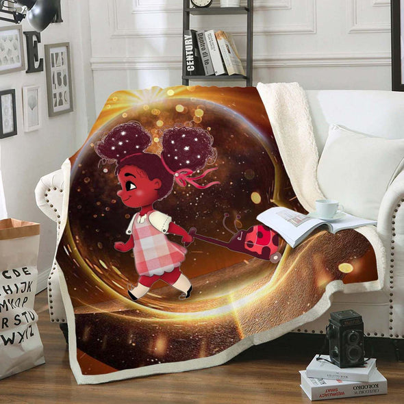 African American Cute Daughter - Back To School Afro Balloon Girl Fleece Blanket