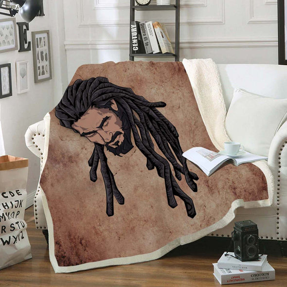 Pride African Men Art Fleece Blanket - Long Locs Black Hair Man Fleece Blanket