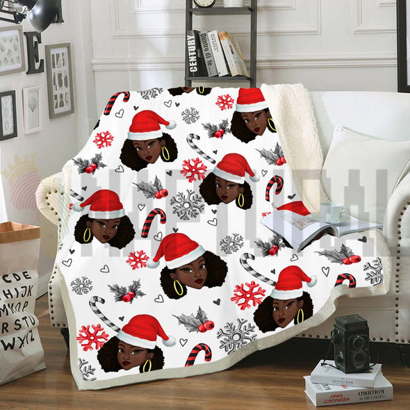 Black Women Christmas Pattern 6 Fleece Blanket