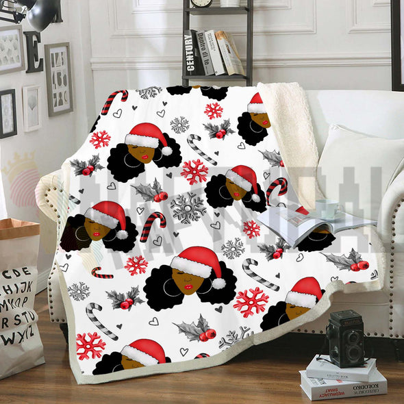 Black Women Christmas Pattern 3 Fleece Blanket