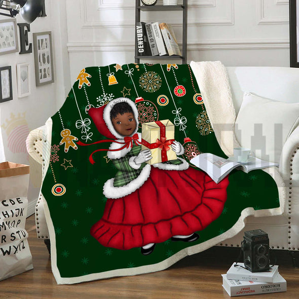Black Baby Girl Happy With Christmas Gift Fleece Blanket