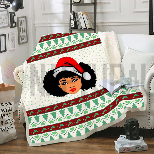 Melanin Black Girl Christmas Ugly Fleece Blanket