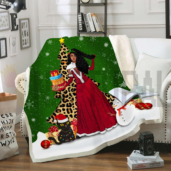Black Girl Long Hair Claus Christmas Gift Fleece Blanket