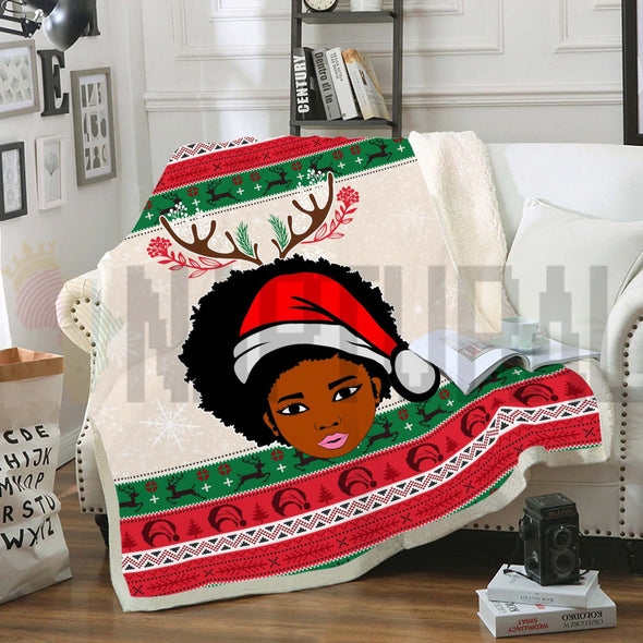 Afro Natural Girl Santa Claus Christmas Fleece Blanket