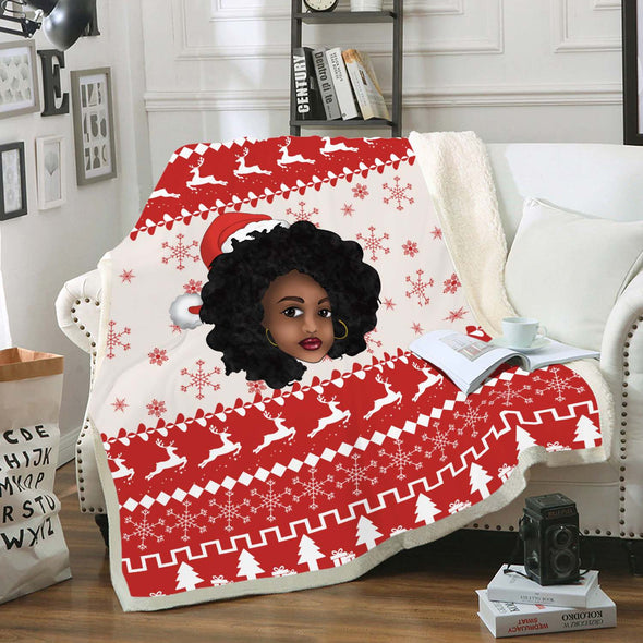 Afro Natural Women Christmas Style Fleece Blanket
