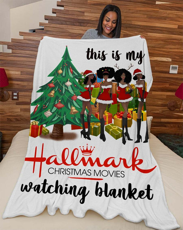 Black Women Hallmark Christmas Movies Watching Fleece Blanket