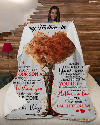 To My Mother the In Law Blanket - All The While My Love For Your Son Fleece Blanket