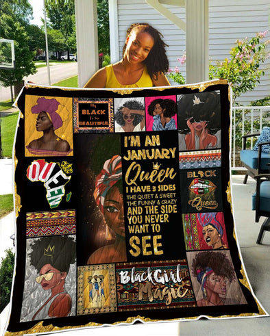 I'm An November Black Queen Quilt