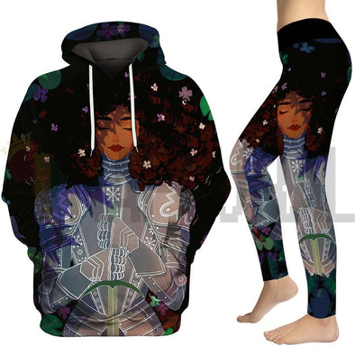 Strong Beauty Afro Lady Knight All Over Apparel