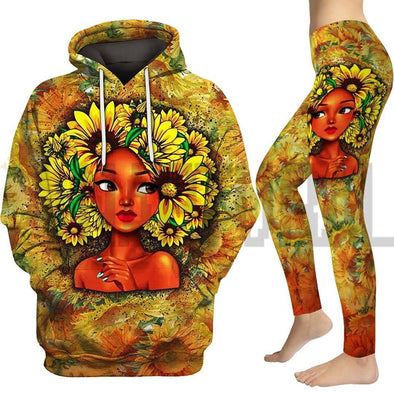 Black Beauty Girl Sun Flower Hair Style All Over Apparel