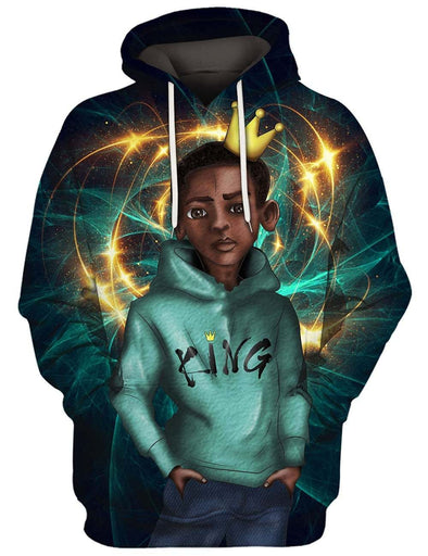 Gold Crown Black Kid King All Over Apparel