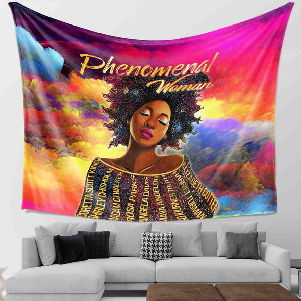 Black Women Art - Black History Phenomenal Woman Wall Tapestry