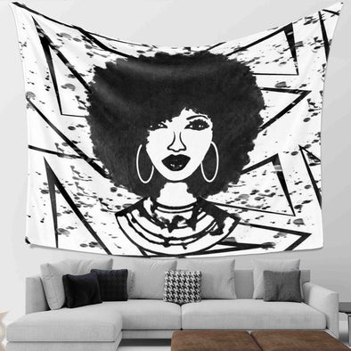 Black Women Art - Afro Natural Hair Black Beauty Wall Tapestry