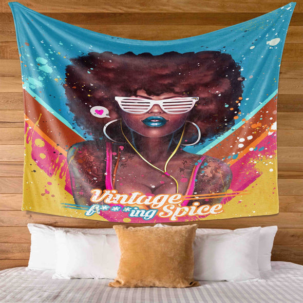 Black Girl Magic - Black Girl Magic Afro Colorful Vintage Wall Tapestry