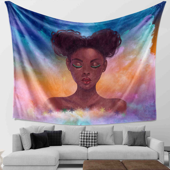 Black Girl Natural Hair - Cute Curls Girl Wall Tapestry