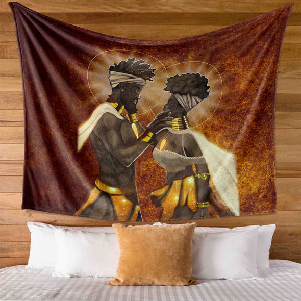 Black Couple - African American King And Queen Wall Tapestry