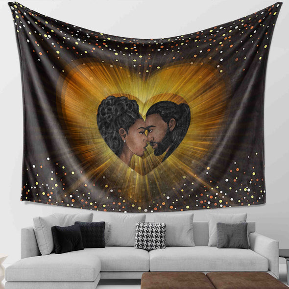 African Black Art - Long Locs Couple Real Love Wall Tapestry