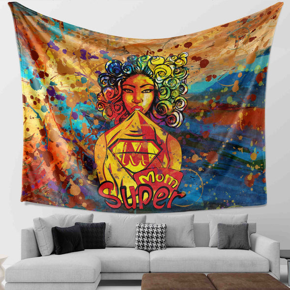 African Women Art - Colorful Curls Kinky Chicks Super Mom Wall Tapestry