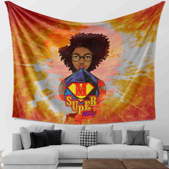 Mother's Day Present - Afro Kinky Curly Super Mom Wall Tapestry