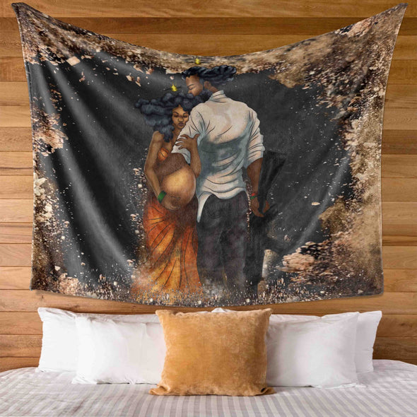 For Black Couple - Love My Black Pregnant Women On War Wall Tapestry
