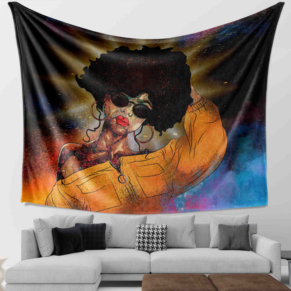 Black Curly Hair Artwork - Colorful Curls Girl Beauty Wall Tapestry