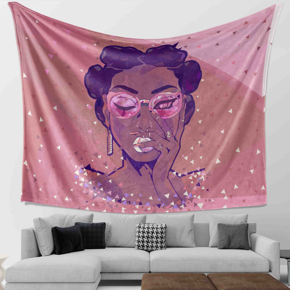 Natural Hair Loves - Black Girl Short Hair Crystal Wall Tapestry