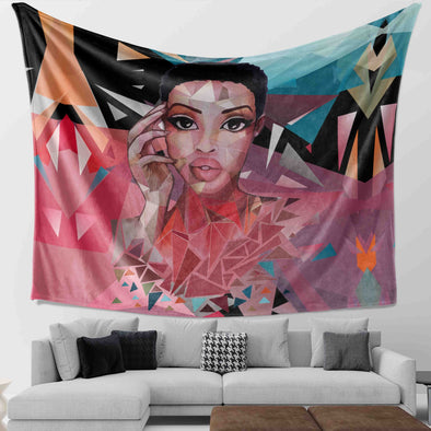 Team Natural - Black Short Hair Broken Glass Style Wall Tapestry