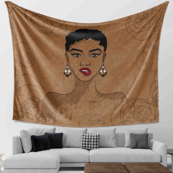 Amazing Natural Hair Art - Black Girl Magic Short Hair Wall Tapestry
