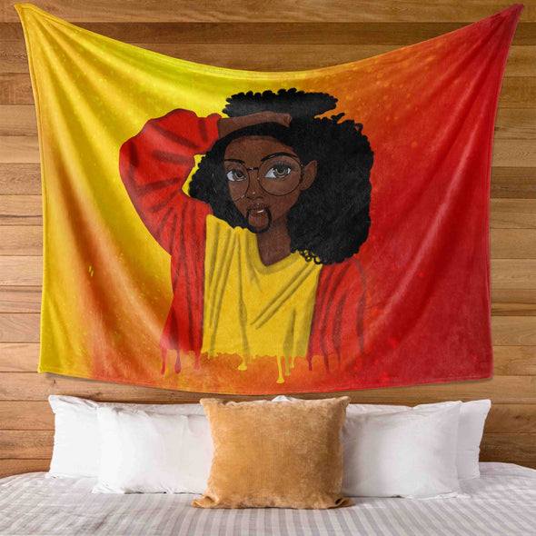 Black Girl Curly Hair - Cute Black Girl Curly Afro Wall Tapestry