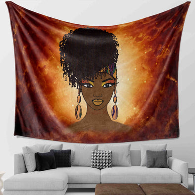 Black Women Natural - Black Kinky Coily Beauty Magic Wall Tapestry