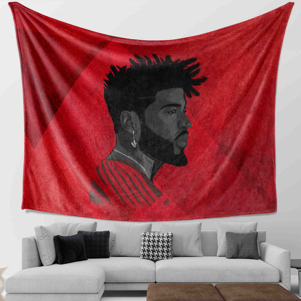 Curly Natural Hair Artwork - Black Curly Sporty Strong Man Wall Tapestry