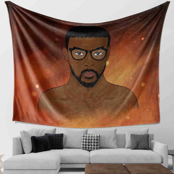 African Hair Loves - Glasses Men Unique Style Wall Tapestry