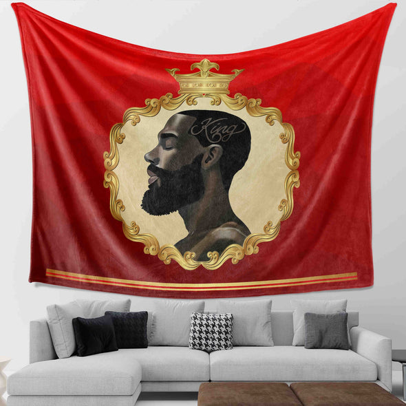 Black King Art - African Strength Powerful Black King Wall Tapestry