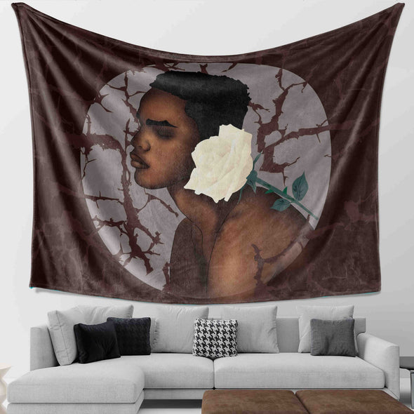 Black Short Hair Art - White Rose And Natural Black Men Wall Tapestry