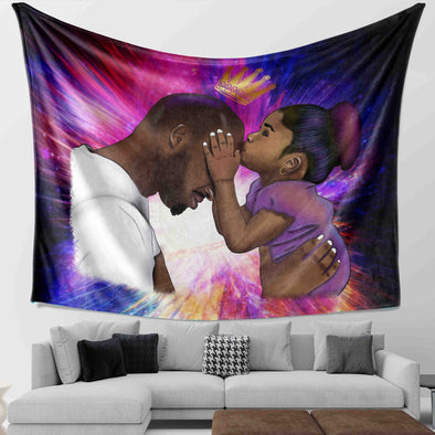 Black Daddy Products - Endless Love Father And Daughter Wall Tapestry