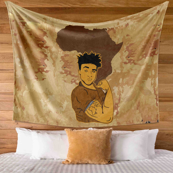 African Pride Art - Powerful Strong Black Men Pride Wall Tapestry