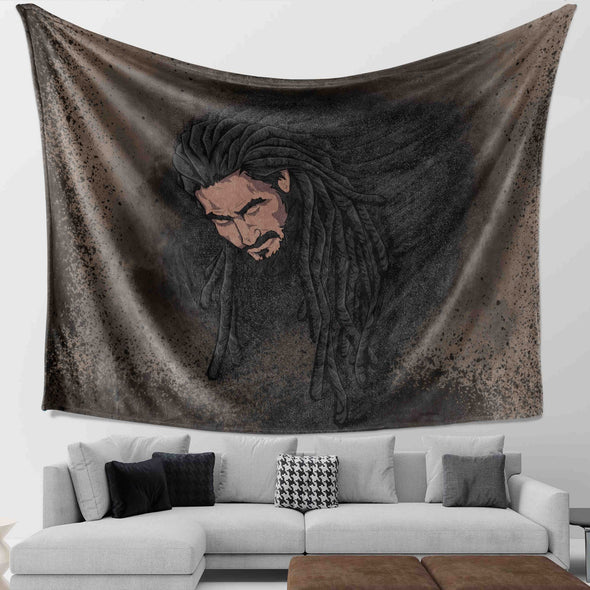 African Man Loc's - Long Locs Black Hair Men Wall Tapestry