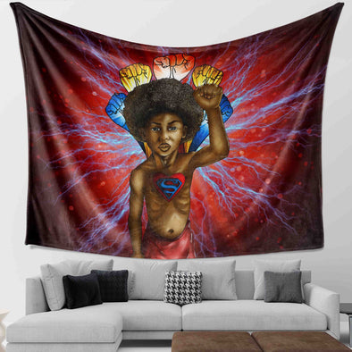 Save The Africa - Brave Strong Super Black Kid Wall Tapestry