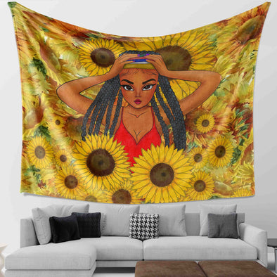 African Locs Style Art - Dreadlocks Cute Little Girl Sunflower Wall Tapestry