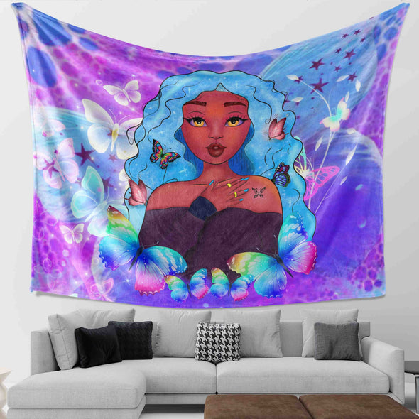 Africa Girl Art - African Cute Princess Butterfly Style Wall Tapestry