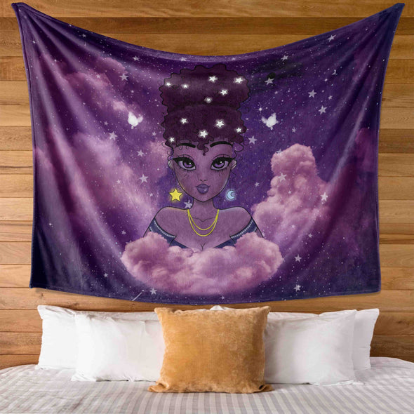 Natural Afro Princess - Purple Lovely Moon Star Afro Girl Wall Tapestry