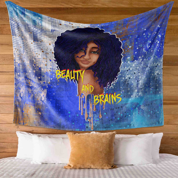 Afro Black Lady Art - Beauty And Brains Melanin Poppin Women Wall Tapestry