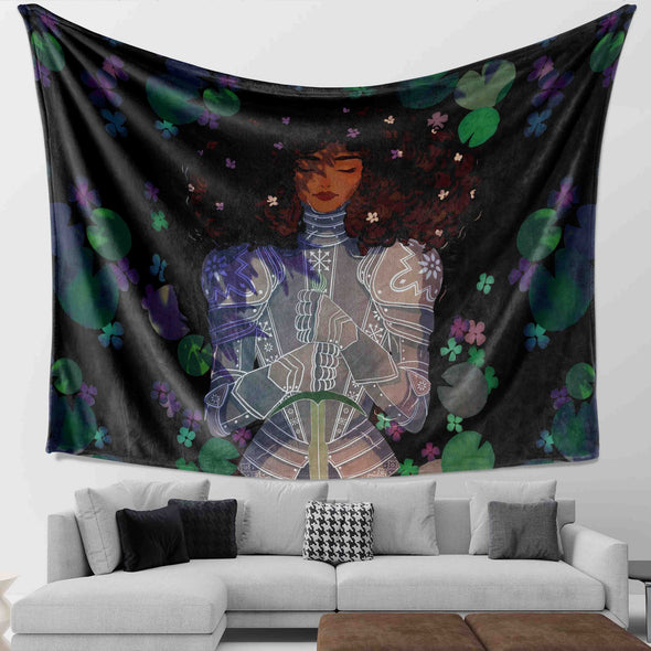 Black Women Art - Strong Beauty Afro Lady Knight Wall Tapestry