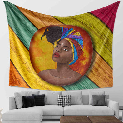 Natural Africa Loves - African Headwraps Dreadlocks Hair Women Wall Tapestry
